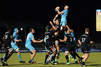 Matt Cox of Worcester Warriors wins the ball at a lineout. Premiership Rugby Cup match, between Saracens and Worcester Warriors on November 11, 2018 at Allianz Park in London, England. Photo by: Patrick Khachfe / JMP