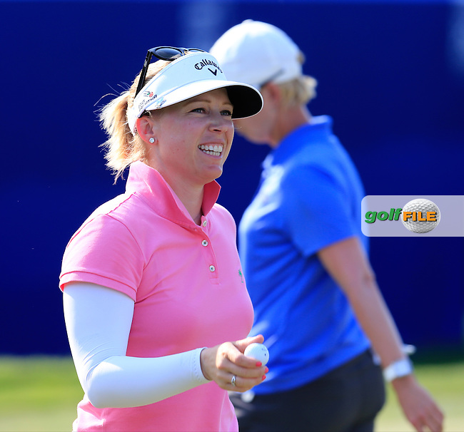 Morgan Pressel (USA) sinks her birdie putt on the 18th green during Sunday's Final Round of the 2015 KPMG Women's PGA Championship held at Westchester Country Club, Harrison, New York, USA. 6/14/2015.<br /> Picture &copy; Golffile/Eoin Clarke
