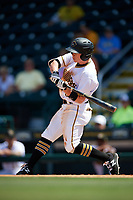 Bradenton Marauders second baseman Mitchell Tolman (5) swings at a pitch during a game against the Charlotte Stone Crabs on April 9, 2017 at LECOM Park in Bradenton, Florida.  Bradenton defeated Charlotte 5-0.  (Mike Janes/Four Seam Images)