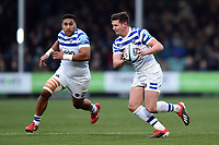 Freddie Burns of Bath Rugby in possession. Gallagher Premiership match, between Worcester Warriors and Bath Rugby on January 5, 2019 at Sixways Stadium in Worcester, England. Photo by: Patrick Khachfe / Onside Images