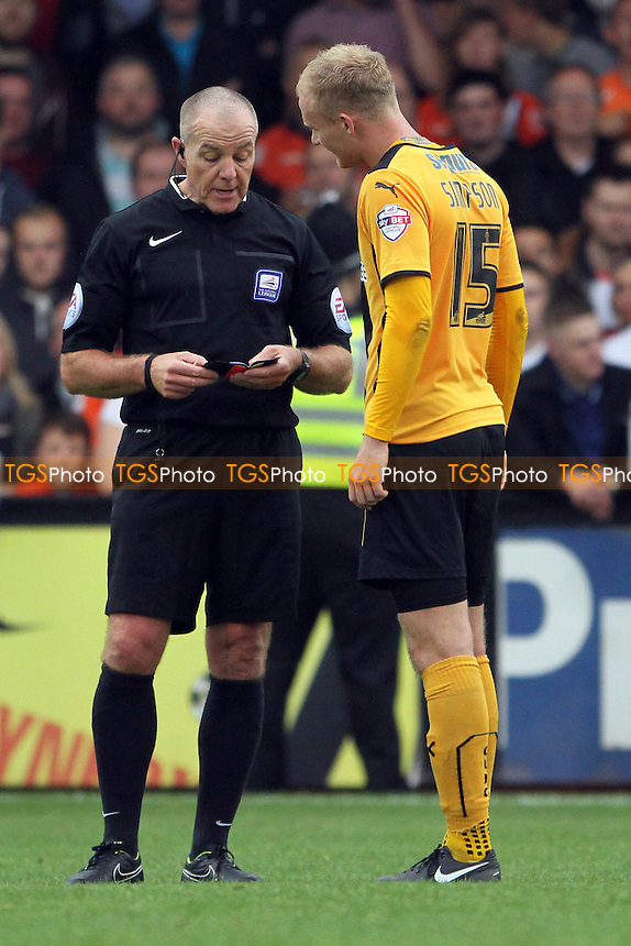 Robbie Simpson (Cambridge United) gets a caution - Cambridge United vs Luton Town - Sky Bet League Two Football at the Abbey Stadium, Cambridge - 20/09/14 - MANDATORY CREDIT: Mick Kearns/TGSPHOTO - Self billing applies where appropriate - contact@tgsphoto.co.uk - NO UNPAID USE