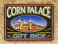 The Corn Palace gift shop sign in Mitchell South Dakota