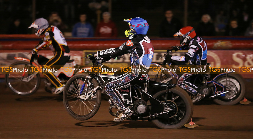 Heat 5: Peter Karlsson (red), Mads Korneliussen (white) and Lewis Bridger (blue) - Lakeside Hammers vs Leicester Lions, Elite League Speedway at the Arena Essex Raceway, Pufleet - 04/04/14 - MANDATORY CREDIT: Rob Newell/TGSPHOTO - Self billing applies where appropriate - 0845 094 6026 - contact@tgsphoto.co.uk - NO UNPAID USE