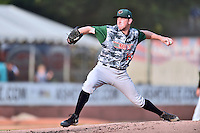 Augusta GreenJackets starting pitcher Domenic Mazza (34) delivers a pitch during a game against the Asheville Tourists at McCormick Field on July 21, 2016 in Asheville, North Carolina. The GreenJackets defeated the Tourists 6-3. (Tony Farlow/Four Seam Images)