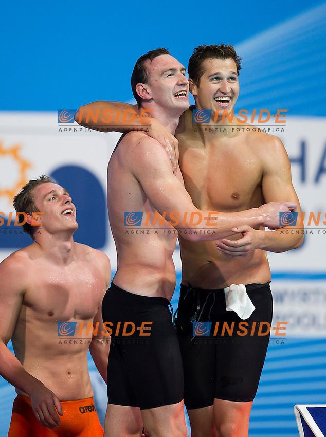 Team RUS silver medal <br /> Men's 200m freestyle relay final<br /> 15th FINA World Aquatics Championships<br /> Palau Sant Jordi, Barcelona (Spain) 02/08/2013 <br /> &copy; Giorgio Perottino / Deepbluemedia.eu / Insidefoto