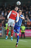Fleetwood Town's Barrie McKay under pressure from Blackpool's Taylor Moore<br /> <br /> Photographer Kevin Barnes/CameraSport<br /> <br /> The EFL Sky Bet League One - Fleetwood Town v Blackpool - Saturday 7th March 2020 - Highbury Stadium - Fleetwood<br /> <br /> World Copyright © 2020 CameraSport. All rights reserved. 43 Linden Ave. Countesthorpe. Leicester. England. LE8 5PG - Tel: +44 (0) 116 277 4147 - admin@camerasport.com - www.camerasport.com