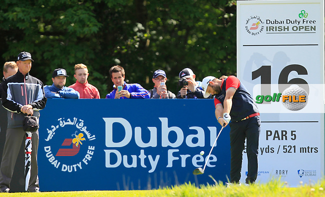 Andy Sullivan (ENG) on the 16th tee during Wednesday's Pro-Am round of the Dubai Duty Free Irish Open presented  by the Rory Foundation at The K Club, Straffan, Co. Kildare<br /> Picture: Golffile | Thos Caffrey<br /> <br /> All photo usage must carry mandatory copyright credit <br /> (&copy; Golffile | Thos Caffrey)
