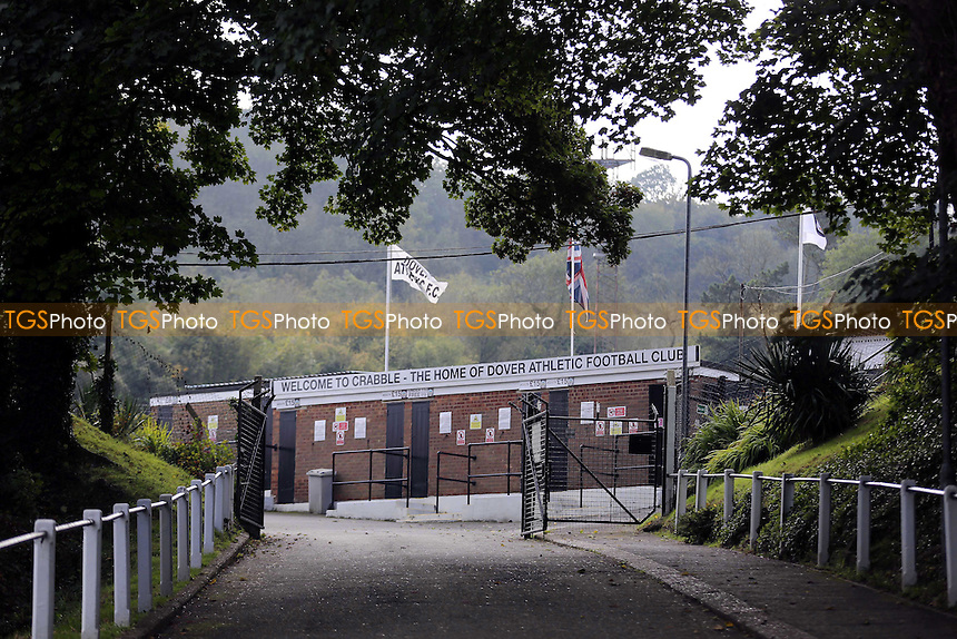 Main entrance to Dover Athletic Football Club during Dover Athletic vs Wrexham at the Crabble Athletic Ground, Dover