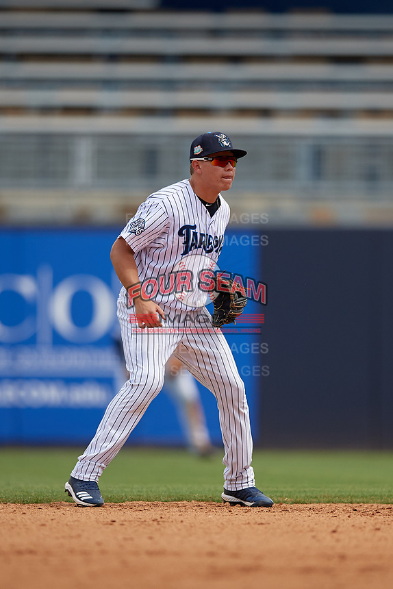 Tampa Tarpons second baseman Diego Castillo (2) during a Florida State League game against the Lakeland Flying Tigers on April 7, 2019 at George M. Steinbrenner Field in Tampa, Florida.  Tampa defeated Lakeland 3-2.  (Mike Janes/Four Seam Images)