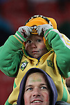 15 JUN 2010:  Young Brazil fan in the stands bundled up for the cold.  The Brazil National Team played the North Korea National Team at Ellis Park Stadium in Johannesburg, South Africa in a 2010 FIFA World Cup Group G match.