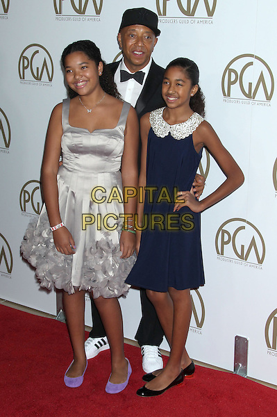 Russell Simmons & daughters.At the 24th Annual Producers Guild Awards held at the Beverly Hilton Hotel, Beverly Hills, California, USA,.26th January 2013..PGAs PGA arrivals full length blue collar hand on hip bow tie collar dad father family tuxedo black silver hat baseball cap.CAP/ADM/RE.©Russ Elliot/AdMedia/Capital Pictures.