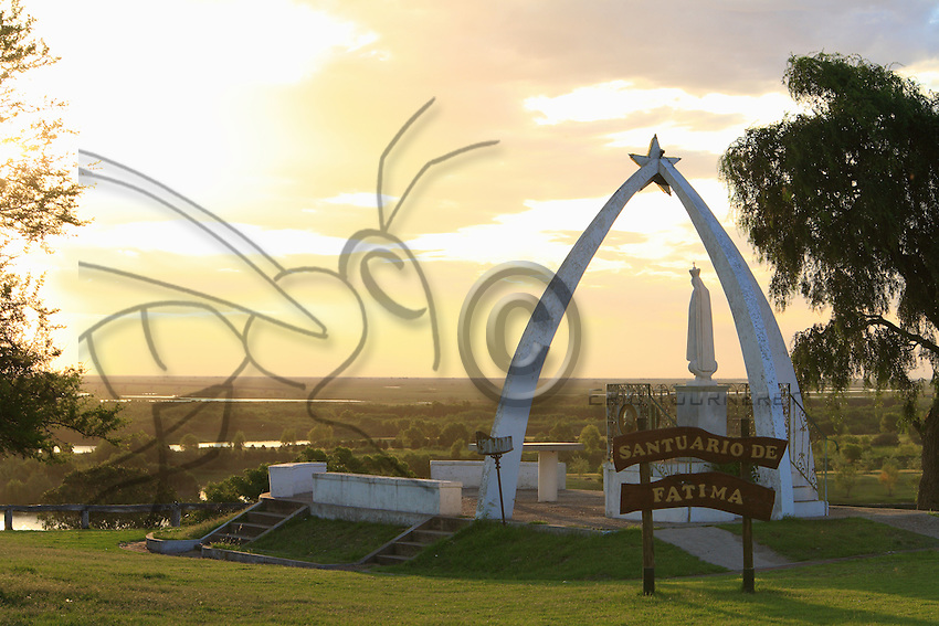 The shrine dedicated to Fatima on the hill of Victoria overhangs the delta's landscape.