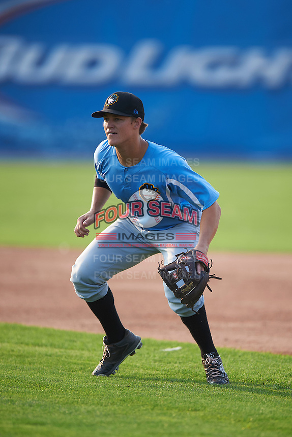 West Virginia Black Bears second baseman Logan Ratledge (12) during practice before a game against the Batavia Muckdogs on August 31, 2015 at Dwyer Stadium in Batavia, New York.  Batavia defeated West Virginia 5-4.  (Mike Janes/Four Seam Images)