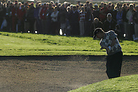 Straffin Co Kildare Ireland. K Club Ruder Cup...American Ryder Cup team members David Toms plays his second shot from the bunker on the first fairway during the opening fourball session of the first day of the 2006 Ryder Cup, at the K Club in Straffan, Co Kildare, in the Republic of Ireland, 22 September 2006..Photo: Fran Caffrey/ Newsfile..