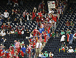 06 February 2008: U.S. fans march into the stadium from their tailgate. The United States Men's National Team played the Mexico Men's National Team to a 2-2 tie at the Reliant Stadium in Houston, TX in a men's international friendly soccer game.