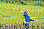 Mary T Moynihan Farranfore/Maine Valley competing in the discus in the Junior and Master Athletic championships at An Riocht, Castleisland on Wednesday evening