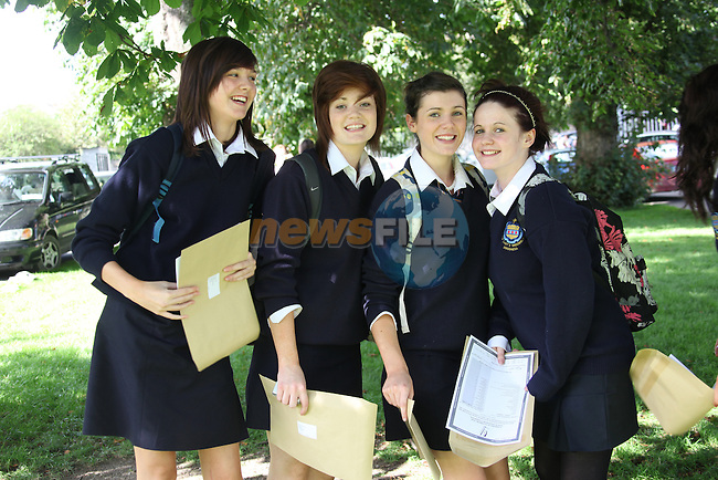 Junior Cert results in Greenhills.Amy Kirk, Louise Dunes, Hanna Clayton and Amy Reynolds..Photo: Fran Caffrey/www.newsfile.ie..