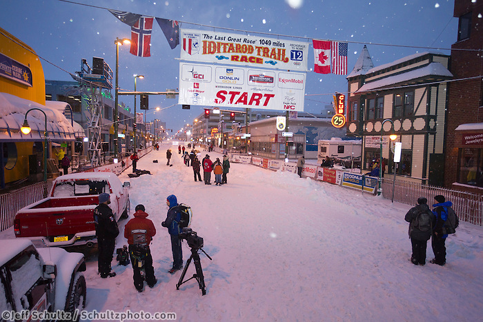 Saturday, March 3, 2012  Pre-race set up at the Ceremonial Start of Iditarod 2012 in Anchorage, Alaska.