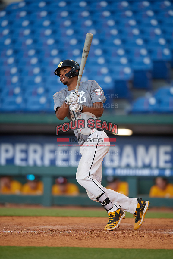 Malakhi Knight (21) of Marysville Getchell High School in Marysville, WA during the Perfect Game National Showcase at Hoover Metropolitan Stadium on June 17, 2020 in Hoover, Alabama. (Mike Janes/Four Seam Images)