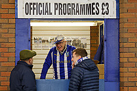 A man sells Sheffield Wednesday official programmes from a kiosk prior to the Sky Bet Championship match between Sheffield Wednesday and Swansea City at Hillsborough Stadium, Sheffield, England, UK. Saturday 09 November 2019