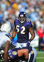 Sep. 20, 2009; San Diego, CA, USA; Baltimore Ravens linebacker (52) Ray Lewis against the San Diego Chargers at Qualcomm Stadium in San Diego. Mandatory Credit: Mark J. Rebilas-