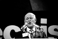 PQ Leader Rene Levesque deliver the closing speech of  the Parti Quebecois' Conseil National Extrordinaire at Montreal's convention centre, January19, 1985.<br /> <br /> File Photo : Agence Quebec Presse - Pierre Roussel