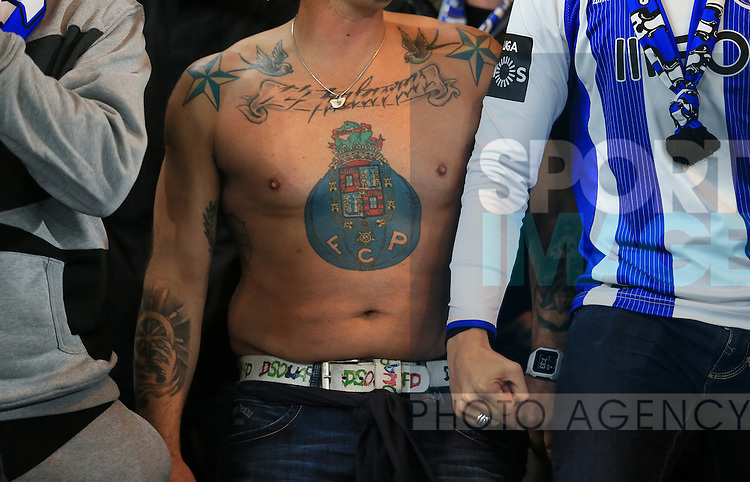A Porto fan shows off his tattoo<br /> <br /> UEFA Champions League - Chelsea v FC Porto - Stamford Bridge - England - 9th December 2015 - Picture David Klein/Sportimage