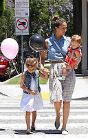 Jessica Alba took her family to a shopping at the posh kids store Bel Bambini in West Hollywood. Jessica, hubby Cash_Warren, Honor and Haven were spotted leaving the boutique with balloons and a huge gift basket. Los Angeles, California on 23.06.2012..Credit: Correa/face to face.. /MediaPunch Inc. ***FOR USA ONLY*** ***Online Only for USA Weekly Print Magazines*** / Mediapunchinc NORTEPHOTO.COM<br />