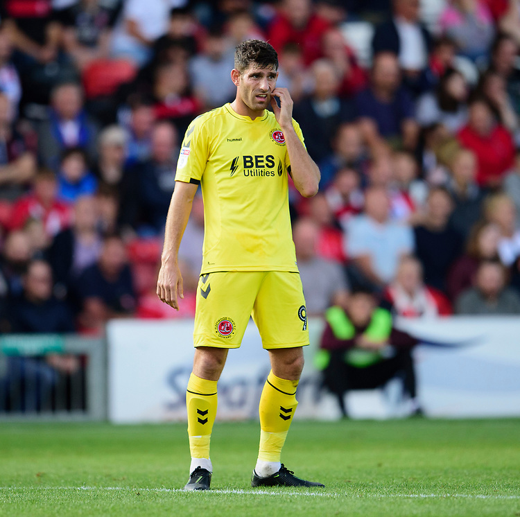 Fleetwood Town's Ched Evans<br /> <br /> Photographer Andrew Vaughan/CameraSport<br /> <br /> The EFL Sky Bet League One - Lincoln City v Fleetwood Town - Saturday 31st August 2019 - Sincil Bank - Lincoln<br /> <br /> World Copyright © 2019 CameraSport. All rights reserved. 43 Linden Ave. Countesthorpe. Leicester. England. LE8 5PG - Tel: +44 (0) 116 277 4147 - admin@camerasport.com - www.camerasport.com