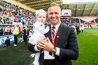 Lee Trundle during the players lap of appreciation after the Premier League match between Swansea City and West Bromwich Albion at The Liberty Stadium, Swansea, Wales, UK. Sunday 21 May 2017 (Photo by Athena Pictures/Getty Images)