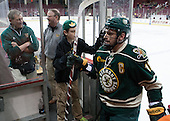 Steve Basiel (UVM - Athletic Trainer), Charlie Mackey (UVM - Equipment Manager), Jack Lyman (UVM), H.T. Lenz (UVM - 11) - The Boston College Eagles defeated the visiting University of Vermont Catamounts to sweep their quarterfinal matchup on Saturday, March 16, 2013, at Kelley Rink in Conte Forum in Chestnut Hill, Massachusetts.