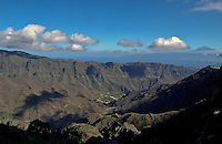 View of valley looking towards Mount Teide on Tenerife from La Gomera, Canary Islands,Spain