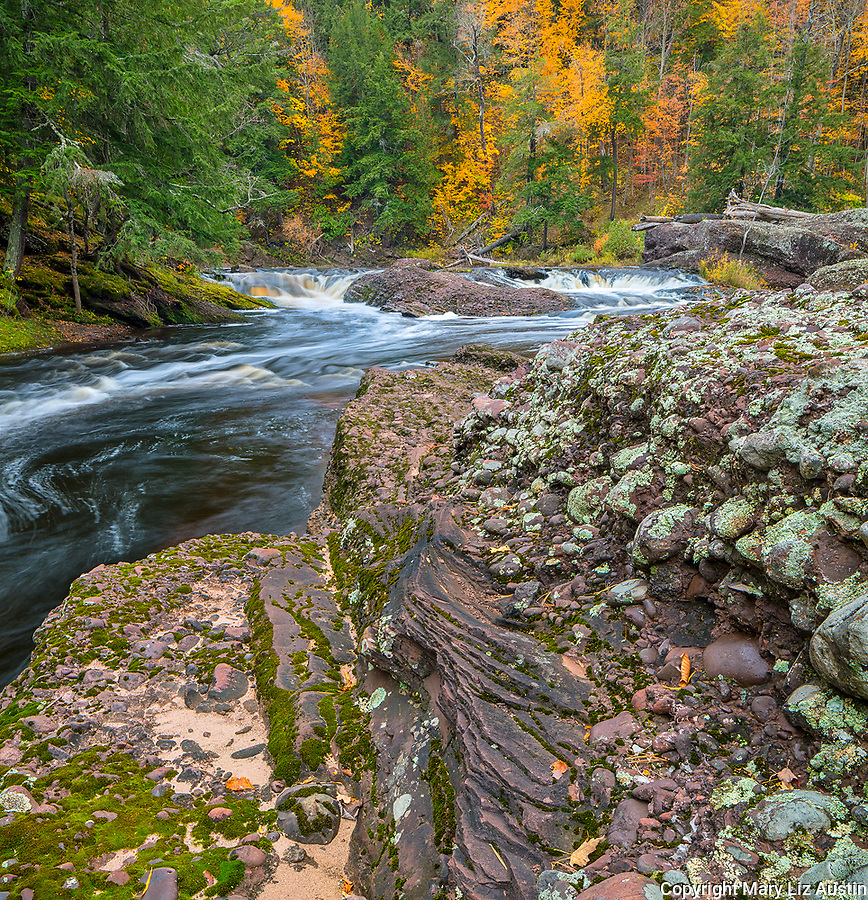 Ottawa National Forest, Michigan: Lichen covered shale outcrop along the Black River in fall, Black River Recreation Area, Upper Penninsula