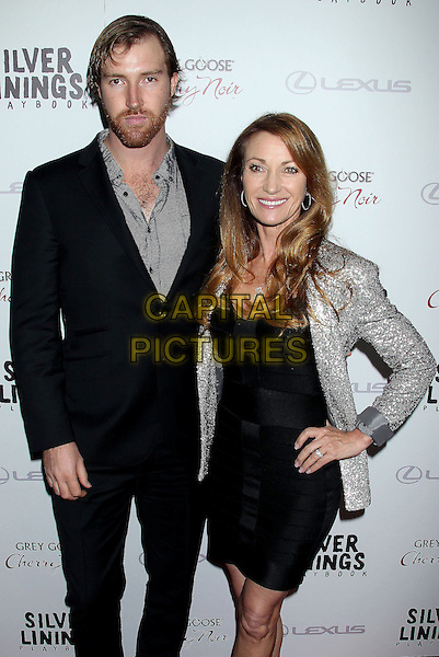 "Sean Flynn & Jane Seymour.""Silver Linings Playbook"" - Los Angeles Special Screening held at the Academy of Motion Picture Arts and Sciences Samuel Goldwyn Theater, Beverly Hills, California, USA..November 19th, 2012.half length dress black silver blazer sequins sequined shirt suit beard facial hair mother mom mum son family hand on hip.CAP/ADM/RE.©Russ Elliot/AdMedia/Capital Pictures."