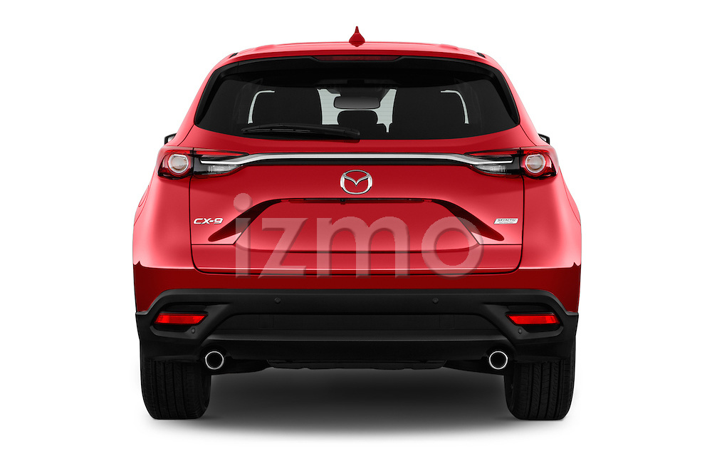 Straight rear view of 2016 Mazda CX-9 Touring-FWD 5 Door SUV Rear View  stock images