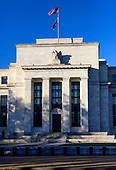 Very high resolution exterior of the Marriner S. Eccles Federal Reserve Board Building, located along Constitution Avenue at 20th Street, NW in Washington, DC, on November 11, 2018. It houses the main offices of the Board of Governors of the Federal Reserve System<br /> Credit: Ron Sachs / CNP
