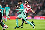 Neymar da Silva Santos Junior (l) of FC Barcelona fights for the ball with Raul Garcia of Athletic Club during their Copa del Rey Round of 16 first leg match between Athletic Club and FC Barcelona at San Mames Stadium on 05 January 2017 in Bilbao, Spain. Photo by Victor Fraile / Power Sport Images