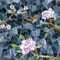 Chinoiserie, a handmade mosaic shown in Emerald, Tourmaline, Labradorite, Opal, Tiger's Eye, Amber, Peridot, Champagne, Rose Quartz, and Pearl jewel glass with Marcasite Sea Glass™ is part of the Sea Glass™ collection by New Ravenna.