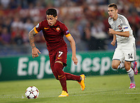 Calcio, Champions League, Gruppo E: Roma vs CSKA Mosca. Roma, stadio Olimpico, 17 settembre 2014.<br /> Roma forward Juan Iturbe, of Argentina, runs on his way to score during the Group E Champions League football match between AS Roma and CSKA Moskva at Rome's Olympic stadium, 17 September 2014.<br /> UPDATE IMAGES PRESS/Riccardo De Luca