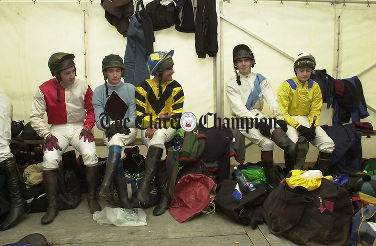 The scene before a race in the Jockeys tent at the East Clare Harriers Point to Point in Killaloe. Photograph by John Kelly.