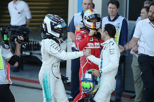 April 30th 2017, Sochi, Russia;  FIA Formula One World Championship 2017, Grand Prix of Russia, <br /> #77 Valtteri Bottas (FIN, Mercedes AMG Petronas), #5 Sebastian Vettel (GER, Scuderia Ferrari)
