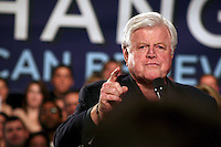 Late senator Edward Kennedy at a Obama campaign rally in 2008 in Boston.