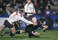 New Zealand replacement Winston Stanley scores the final try against Wales in the Division A semi-final at Ravenhill. Result New Zealand 36 Wales 12.
