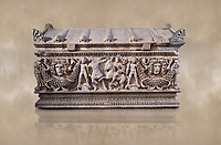 Side panel of a Roman relief garland  sculpted sarcophagus, style typical of Pamphylia, 3rd Century AD, Konya Archaeological Museum, Turkey. Against a warm art background.