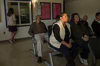 From left: William Dickens from Healing Transitions, and Meredith University Seniors Allison Pearman and Anna Landis (ALL CQ) wait to go on a tour of Central Prison in Raleigh, NC on Thursday, November 17, 2016. (Justin Cook)