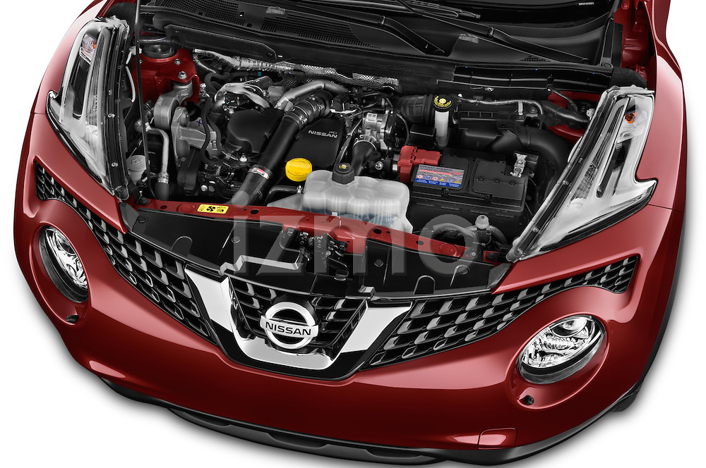 Car Stock 2015 Nissan JUKE TEKNA 5 Door SUV 2WD Engine high angle detail view