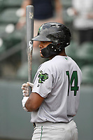 Center fielder Heliot Ramos (14) of the Augusta GreenJackets in a game against the Greenville Drive on Thursday, May 17, 2018, at Fluor Field at the West End in Greenville, South Carolina. Augusta won, 2-1. (Tom Priddy/Four Seam Images)