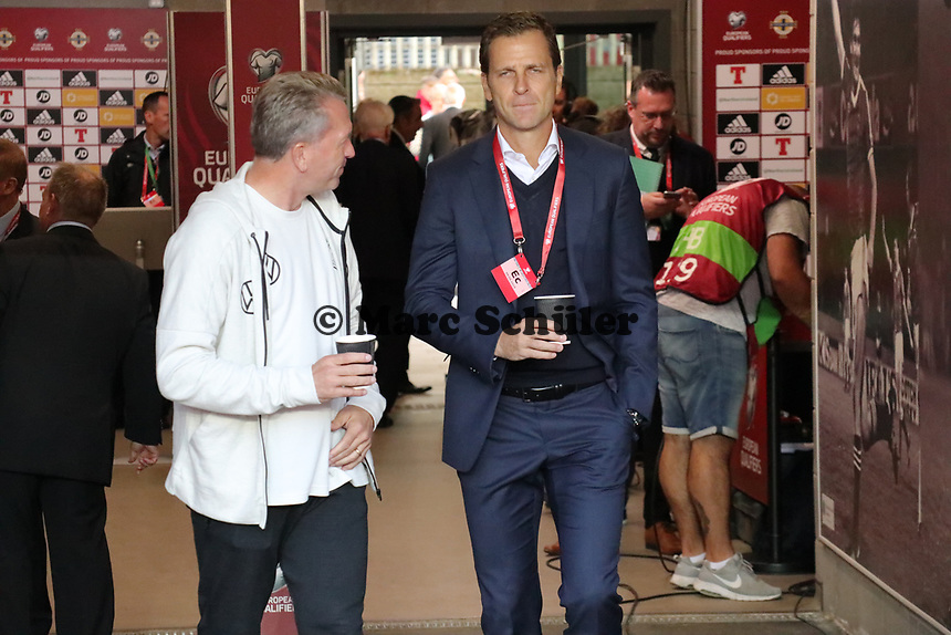 Teammanager der Nationalmannschaft Oliver Bierhoff (Deutschland Germany) und Torwarttrainer Andreas Koepke (Deutschland Germany) - 09.09.2019: Nordirland vs. Deutschland, Windsor Park Belfast, EM-Qualifikation DISCLAIMER: DFB regulations prohibit any use of photographs as image sequences and/or quasi-video.