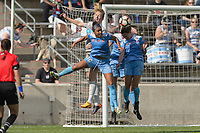 Bridgeview, IL - Saturday May 27, 2017: Samantha Mewis, Samantha Johnson, Taylor Comeau during a regular season National Women's Soccer League (NWSL) match between the Chicago Red Stars and the North Carolina Courage at Toyota Park. The Red Stars won 3-2.