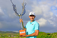 Dylan Frittelli (RSA) poses with the trophy after the final round of the Afrasia Bank Mauritius Open played at Heritage Golf Club, Domaine Bel Ombre, Mauritius. 03/12/2017.<br />